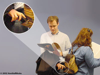 Pickpocket using a magazine as cover